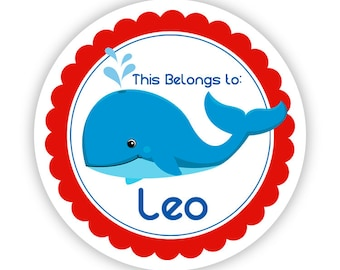 Sticker Name Tag Labels - Red Blue, Ocean Sea Creature Whale Personalized Name Tag Stickers - 2 inch Round Tags - Back to School Name Labels
