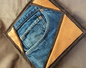 Large Leather and Denim Potholder