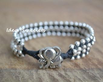 Friendship bracelet, Birthday gift, Baby gifts, Gift for her, Elephant bracelet, Beaded bracelet, Boho jewelry, Double layers - Black