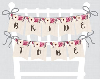 """Printable Bridal Shower Chair Banner - Boho """"Bride to Be"""" Banner -Bohemian Bridal Shower Decoration with Flowers and Feathers - 0006"""