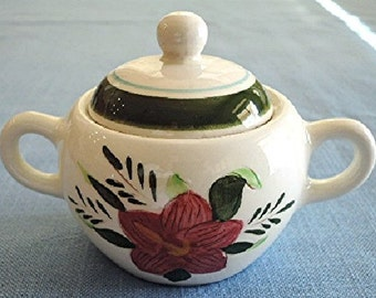 Stangl Pottery SUGAR BOWL & LID Country Garden Pattern Brown Body c.1956-78 Unused