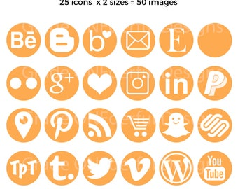 Round Social Media Icons, Orange Blog Buttons, Social Media Graphics, Web Design, Blog Design, Instagram Icon, Pinterest Icon