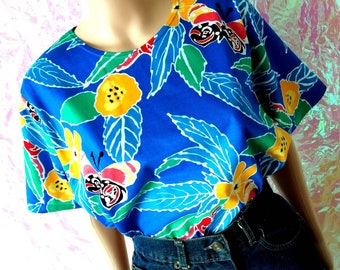VINTAGE 1980s Tropical New Wave Batwing T-shirt Medium FREEUKP&P