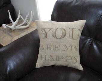 14x14 Custom quote burlap pillow case
