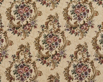 Green Burgundy And Beige Floral Tapestry Upholstery Fabric By The Yard | Pattern # F643