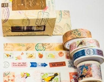 Masking Washi Tape Stamp Stamps-4x tapes/Filoxafing DIY scrapbooking deco tape