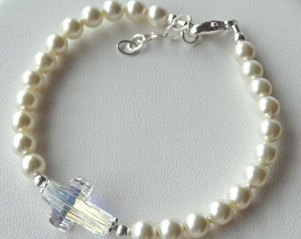 Crystal Cross Pearl Baby Baptism Bracelet, Cross Bracelet, Confirmation, First Communion Bracelet, Flower Girl Bracelet, Junior Bridesmaid