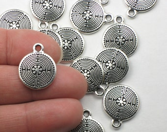 Silver Labyrinth Charms, 2+ TierraCast Antiqued & Plated, 15mm Lead Free Pewter, Maze Pendants, Celtic Labrynths