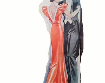 """A 1933 evening dress sewing pattern for 88cm/34.6"""" bust size."""