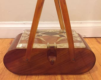 Free Shipping, 1950's Lucite Box Purse, Clear Top, Amber Body