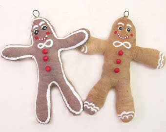 Vintage Inspired Spun Cotton Gingerbread Man Ornament (MADE TO ORDER)