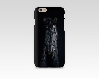 Black Horse Phone Case, iPhone 7 case, Samsung S7, iPhone 6, iPhone 5 case, Samsung S6, Equine Photography, iPhone 7 Plus, Friesian, Dark