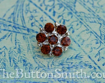"Rhinestone Buttons ""Isabel"" (15mm) RS-013 in Topaz - 5 piece set S"