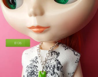 necklace for Blythe doll silver-plated chain with lime green enamel rectangle pendant B136