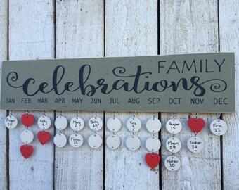 Mother's Day gift - Family birthday board, Family celebrations sign, birthday calendar, wall family calendar, gift for grandma