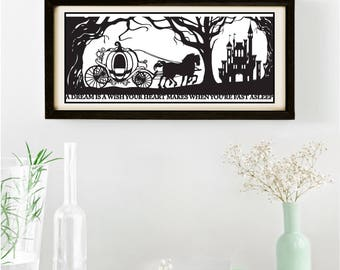 Cinderella's Dream Signed and Framed Papercut Print • Cinderella • Fairytale Wall Art • Paper Cut Quote