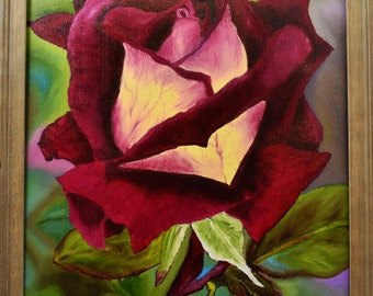 Original oil painting, the brilliant rose, 16 x 20 w/frame