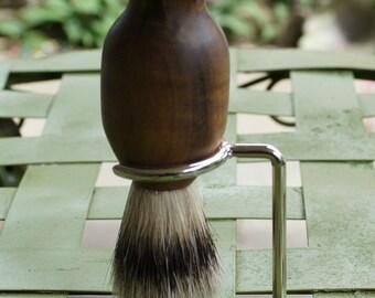 shaving brush with stand, silvertip badger hair, myrtlewood