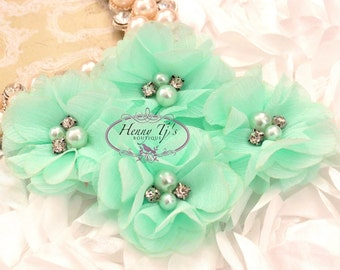 4 pcs Aubrey Mint SEAFOAM Green - Soft Chiffon with pearls and rhinestones Mesh Layered Small Fabric Flowers, Hair accessories