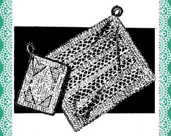Vintage lacey dishcloth and Potholder knitting pattern 1954 PDF immediate download Dollar