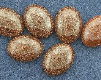 6  8x6 oval brown goldstone cabochon gem stone gemstone