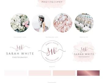 Logo Design, Branding Package, Premade Logo, Photography Logo, Rose Gold Watercolour Logo, Photography Watermark, Semi Custom Logo Brand Kit