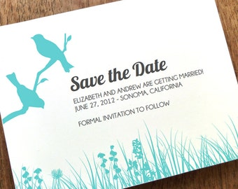 Printable Save the Date Card - Save the Date Template - Instant Download - Love Birds Save the Date - 2 Birds Save the Date PDF - Two Birds