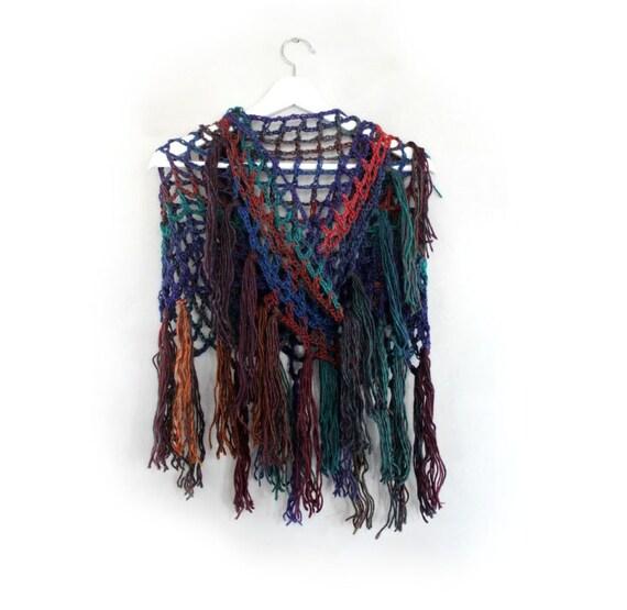 Crochet chal triángulo abrigo chal chal tejido ganchillo