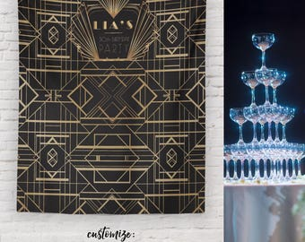 Great Gatsby Party Backdrop, Gatsby Wedding Sign, Gatsby Party Decor, 20s Theme Sign  / H-T31-TP REG1 AA3