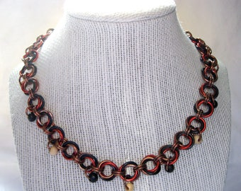 Mobius Chainmail Necklace with Wood Beads
