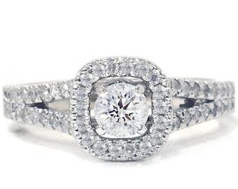Pave .90ct Halo Diamond Engagement Ring 14K White Gold