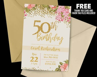50th birthday invitation etsy 50th birthday invitation 1968 50th birthday floral invitation milestone birthday gold party filmwisefo Image collections