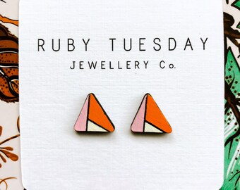 Ruby Tuesday Shattered Triangle Wood Studs. Pink, Orange & White. Laser cut Earrings. Handpainted. More colours available!