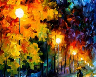 "Original Oil Painting Modern Large Wall Art Decor Gift For Woman On Canvas By Leonid Afremov - Blue Moon. Size: 20"" X 36"" Inches"