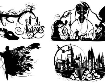 Prints of Will Pigg's Harry Potter Silhouette Paper cuts on 100lb Stipple Paper see listing for designs available