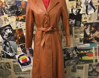 Womens Vintage 1970s Leather Trench Coat Tan Brown Full Length Mod Size UK 8 Free UK & Cheap Worldwide Postage