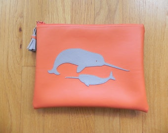 Orange with grey narwhals bag