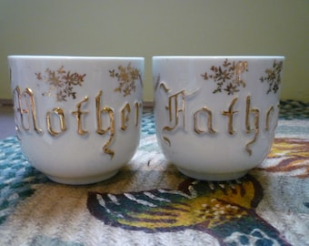 antique German father and mother porcelain tea cups, 24k gold