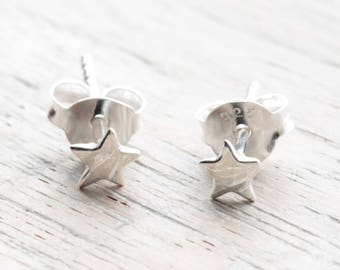 Teeny Tiny Star Earrings, Solid 925 Sterling Silver Studs, 90s Jewelry, Retro Earrings, Small Studs, Boho Jewelry