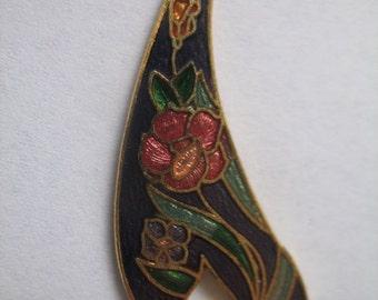 Vintage Purple Cloisonne Pendant with Flower