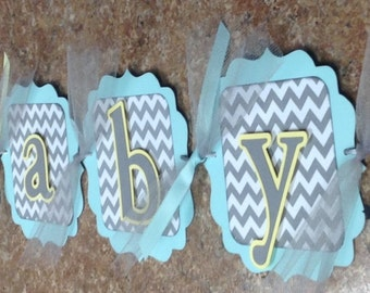 Welcome Baby Chevron Elephant Banner/Gender Neutral Baby Banner