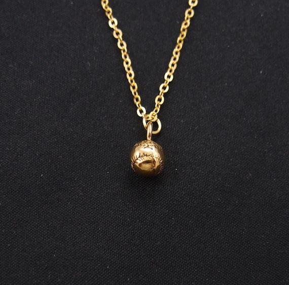 tiny baseball necklace gold filled gold baseball ball charm