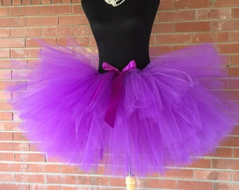 """Purple Adult Tutu for waist 35"""" up to 45"""" great for Halloween, Birthdays, Dance and Bachelorette parties"""