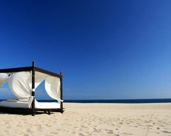 Limited Edition - Ultimate Beach Bliss (summer photo royal blue sky golden sand white cabana vacation, Los Cabos Mexico travel photography)