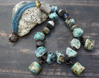 A Siren's Lament - rugged chrysocolla, lampwork, pearl, yellow turquoise, quartz, ceramic, recycled glass seaside necklace.