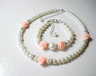 Flower Girl Bracelet and Necklace Set, flower girl gift, childrens pearl set, flower girl jewelry,
