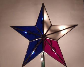 Teinté verre Texas Star avec Clips clairs, arbre de Noël patriotique Topper étoile, héritage vacances arbre décoration 10 pouces