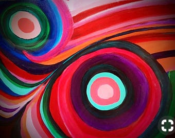 Abstract colorful swirl painting