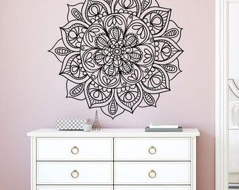 Mandala Wall Decal. Yoga Studio Decor. Mandala Stickers. Bohemian Bedroom Decor. Yoga Decal. Namaste Indian Pattern. Mandala Wall Art AR340