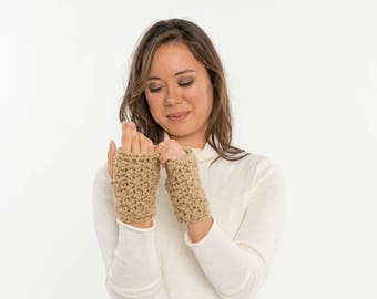 READY TO SHIP  Chunky Crochet Wool-Free Fingerless Gloves, Knit Texting Mittens, Hand Warmers, Women's Warm, Soft, Cozy, Handmade Vegan
